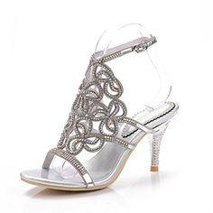 9f1991213 Unicorelle Womens Crystal Rhinestone with Adjustable Sling Peep Toe Open  Back Stiletto Evening Sandals Silver 105