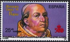 Spain Scott #B188 (15 Oct 1991) Pope Alexander VI (born in Spain) negotiated the division of the newly discovered lands claimed by Spain and Portugal in the late 1400s. He divided the title to the lands between them along a demarcation line.     This imaginary line ran north and south through the mid-Atlantic giving Spain title of any unclaimed territories to the west of the line and Portugal would have possession of any unclaimed territory to the east of the line.