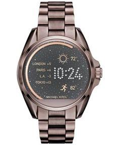 Michael Kors Women's Bradshaw Sable-Tone Stainless-Steel Bracelet Smart Watch 44mm MKT5007 - Brown