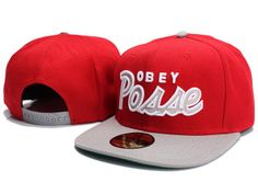 Obey posse Snapback Caps & Hats hot Red Grey-xsj6042