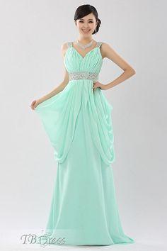Elegant Straps Column Beadings Sweep Train Evening Dress