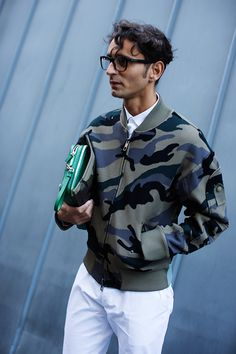 Nice urban camo varsity jacket. Works better with white pants than we'd have thought.