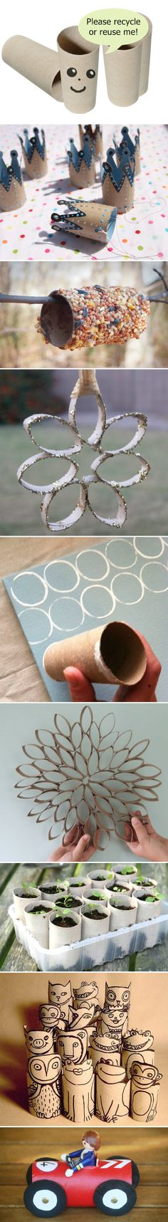 Tons of cute & clever ideas using...toilet paper rolls.  Something my crafty kids would love doing.