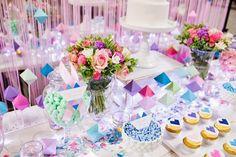 Perfectly Sweet's Pastel Geometric Wedding Table At A Darling Affair. Geometric Decor, Geometric Wedding, Geometric Shapes, Wedding Table, Wedding Cakes, Wedding Decor, Bussines Ideas, Bath And Beyond Coupon, Event Organization