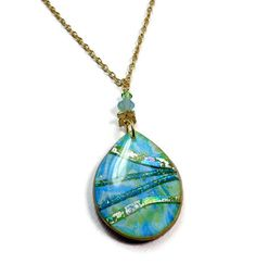 Teardrop Aqua Crystal Dichroic Necklace Modern Statement