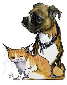 Here are some examples of some Canine Caricatures Custom Pet Caricature Portraits that were drawn for some very happy pet parents!