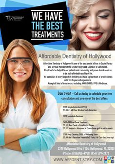 Affordable Dentistry of Hollywood is one of the best dental offices in South Florida and a Proud Member of the Greater Hollywood Chamber of Commerce. We strive to be helpful to our patients and community and prove dental services to be truly affordable quality of life. We specialize in every aspect of dentistry and have a great team of professionals with 10-35 years of experience. Accept all kind of insurances, including HMO (DHMO), PPO & Medicare. Don't wait – Call us today to schedule your…