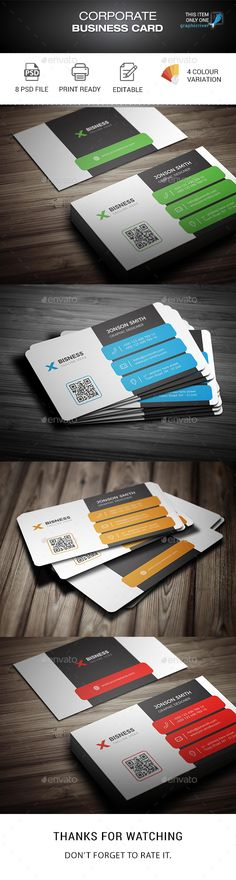 #Business #Card Template - Corporate Business Cards Download here:  https://graphicriver.net/item/business-card-template/20306815?ref=alena994