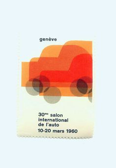 Georges Calame - Poster Stamp - 1960 Geneva Switzerland International Car Show.