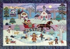 sleigh ride, Cindy Taylor Clark, one of my favorite applique artists! Applique Quilt Patterns, Wool Felting, Winter Quilts, Linens And Lace, Block Design, Deck The Halls, Xmas Ideas, Rug Hooking, Christmas Snowman