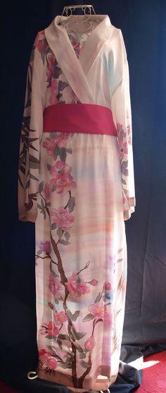 Bata Kimono de seda pintada a mano por SalamaCadenas en Etsy
