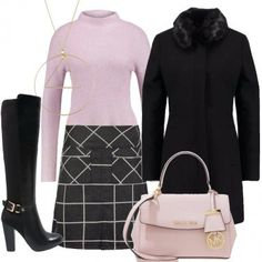 Outfit In nero e rosa