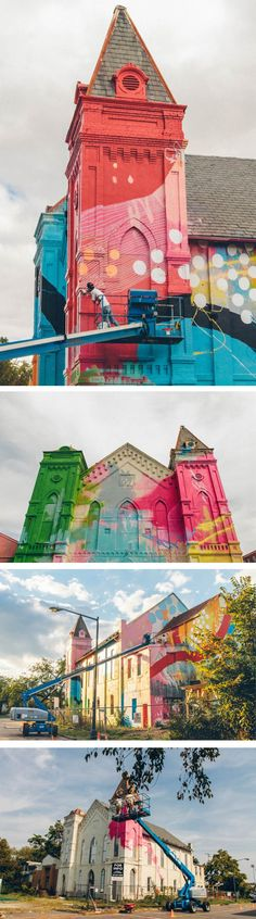 Atlanta-based artist, Alex Brewer, strikes again! This time his murals are adding a splash of color to this old church.
