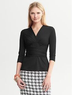 Banana Republic: Issa Collection Wrap Top in Black