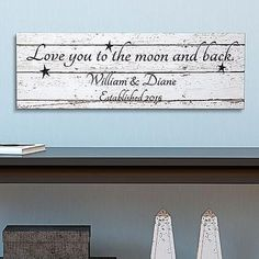 Love You To The Moon And Back | Engagement Party Gifts For Couples, Him, Her, Bride, Groom | Wedding Gifts