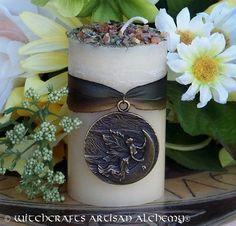 "BRISINGAMEN™ Old European ""Nordic Lights""™ Pillar Candle for Rituals Involving Erotic Love, Seduction, Passion, Irresistible Beauty, Freyja ~ scented w/amber, vanilla, freesia & orchid."