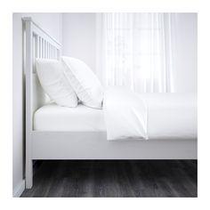 HEMNES Bed frame, white stain, Lönset Queen Lönset