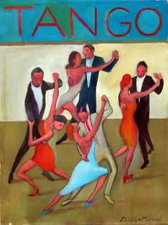 """Mundial de Tango"", acrylic on canvas, 34 x 45 cm. By Diego Manuel Tango Art, Argentine Tango, Inspiration Art, Art Inspo, Ballroom Dancing, Inspirational Wall Art, Dance Pictures, Illustrations And Posters, Graphic Design Illustration"