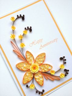 Paper Quilling Happy Anniversary Card. Quilled Handmade Paper Flowers, by Joscinta, £6.00 by simos10