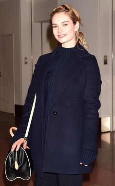 Lily James arriving at Narita International Airport, Tokyo, Japan April 6th 2015