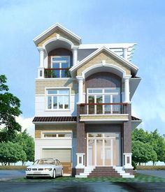 Super Stairs Design Classic Dream Homes Ideas House Floor Design, Dream Home Design, Small House Exteriors, Modern Tiny House, Latest House Designs, Cool House Designs, Balcony Grill Design, Tiny House Stairs, Thai House