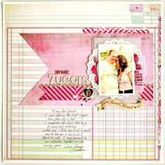 I absolutely LOVE the ledger paper and the big banner piece in this layout!!! Oh, and the doily...swoon!!!