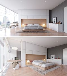 Ukrainian designer Artem Trigubchak, has designed this bedroom that combines the headboard, bed frame, and bedside table together in one single cohesive unit.