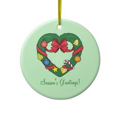 Christmas Holiday Heart-Shaped Wreath Ornament