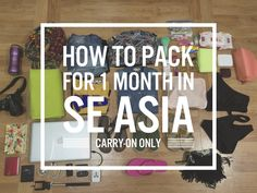 To save a lot of bucks I fit everything into one carryon bag, AND kept it at or under 7 kg. Here is my packing list for Southeast Asia