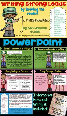 """This PowerPoint is ideal for a """"Writing Strong Leads"""" minilesson!  It includes 10 different styles (like a question, an onomatopoeia, describing the setting, an action, a metaphor/simile, and more!)"""