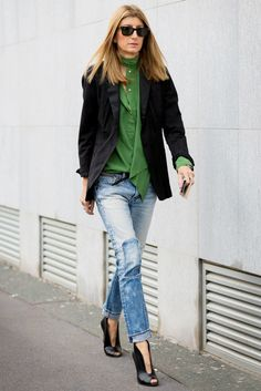 A Sleek Way to Style Your Patchwork Denim via @WhoWhatWear