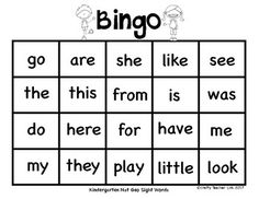 Sight Words BingoKindergarten Nat Geo Words20 sheets to play as a whole class or small groups!Fun Fridays are always better with Bingo!Crafty Teacher Link