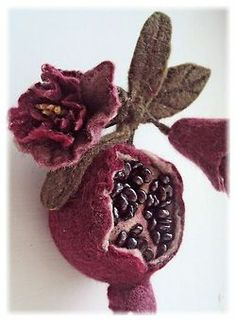 The Pomegranate (Garnet Felt brooch by Woolartruna on Etsy,) Art Textile, Textile Jewelry, Fabric Jewelry, Jewellery, Nuno Felting, Needle Felting, Felt Flowers, Fabric Flowers, Beaded Beads