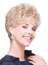 Durable Blonde Curly Short Hair Falls & Half, Half Wig Usa Mohawk Hairstyles For Girls, Cool Hairstyles, Short Curly Hair, Curly Hair Styles, Wig Stand, Cool Blonde, Half Wigs, Long Wigs, Curly Wigs