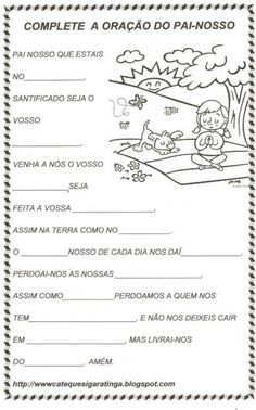 atividades-de-catequese-sobre-o-pai-nosso-para-completar Prayers For Children, Bible Lessons For Kids, Bible Activities, Mystery Of History, Preschool Christmas, Kids Church, Bible Stories, Best Wordpress Themes, Coloring Pages For Kids