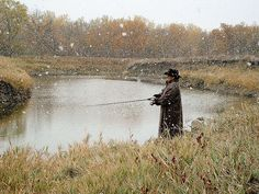 A calm snowy fishing day in North Dakota.