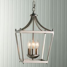 A Pair of these over a kitchen table or island would be cute. Get the bronze and spray it white or a light color. Simple Mini Pagoda Lantern