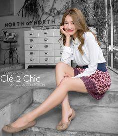 Cle 2 Chic-正韓-珍珠點綴滾邊雪紡長袖上衣-(白) $1,190