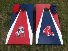 Patriots and Red Sox Custom striped Cornhole Boards. Marty's Carolina Cornhole