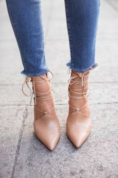 Gorgeous Nude Shoes Tied Up