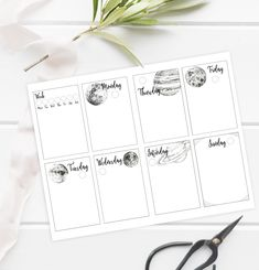 A unique weekly bullet journal layout: Each day of the way combined with a planet (plus moon & sun) - for a whimsical but minimalist look. Weekly planner printable, digital bullet journal pages for A5 / half letter size journals. Hand-drawn ink illustrations!