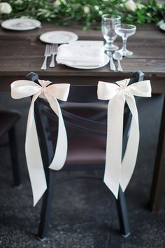 bow chairs for the bride and groom