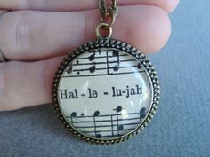 Vintage sheet music pendant, Christian jewelry, inspirational, music jewelry, praise and worship, scripture jewelry, sheet music,. $32.00, via Etsy.
