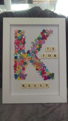 Button art lettering with scrabble tile words. A gift for my sister. More