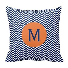 SnapMaker Pillowcase Home Decorative Cotton Polyester Cushion Pillow/Cushion Cover 16 Inches Personalized Custom Pillow Case 2 sides Monogram Royal Blue with Orange Chevron Pattern Pillow snapmaker http://www.amazon.com/dp/B00ZZG8EKW/ref=cm_sw_r_pi_dp_wzLTvb143S81Z