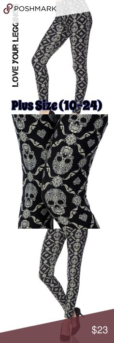 """NEW! Love Your Leggings ❤️ PS Leggings: 🌸 Brand New! 🌸 Plus Size Leggings fits 10-24 🌸 Buttery Soft Skull Print Leggings 🌸 Full Length 🌸 1"""" Elastic High Waistband    ❤️Please message me with any questions, this is my own brand! Love Your Leggings Pants Leggings"""