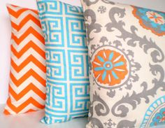 Sets of 3 Orange Aqua Pillows, Decorative Throw Pillows, Cushion Covers, Aqua Orange Grey on Natural Chevron Greek Key - Combo Set of Three 16 x 16 Grey Pillows, Scatter Cushions, Accent Pillows, Decorative Throw Pillows, Colorful Pillows, Grey Pillow Covers, Cushion Covers, Beach Room, Colors