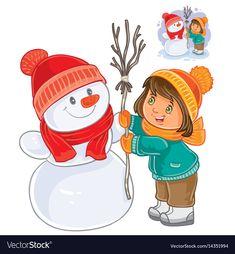 Small girl mold snowman vector image on VectorStock