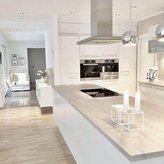 38 The Best Modern Scandinavian Kitchen Inspirations - Popy Home Nordic Kitchen, Scandinavian Kitchen, Kitchen Living, Kitchen Decor, Kitchen Ideas, Kitchen White, Kitchen Modern, Kitchen Inspiration, Scandinavian Modern