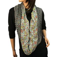 Winter Knit & Fabric Floral Fishnet Net Loop Circle Chain Infinity Scarf Gray SK Hat shop. $18.95